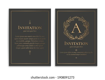 Black and gold luxury invitation card design. Vintage ornament template. Can be used for background and wallpaper. Elegant and classic vector elements great for decoration.