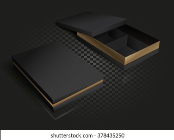 Black and gold luxury packaging with compartments. 3D illustration. Gold vector cardboard box. Open and closed boxes on a transparency background.