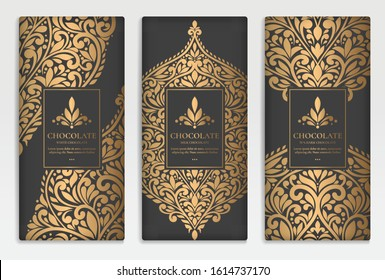 Black and gold luxury packaging design of chocolate bars. Vintage vector ornament template. elegant, classic elements. Can be used for background, wallpaper or any desired idea.