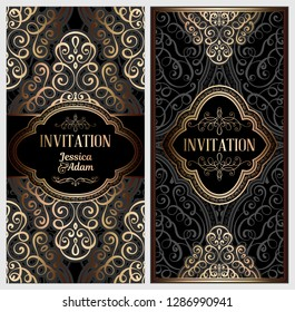 Black and gold luxury wedding invitation card with golden shiny eastern and baroque rich foliage. Ornate islamic background for your design. Islam, Arabic, Indian, Dubai