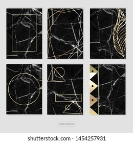 Black and gold marble pattern with graphic elements