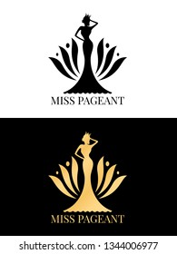 Black and gold Miss pageant logo sign with Beauty queen wear a crown and  flower backdrop vector design