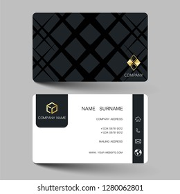 Black  and gold modern business card design. With inspiration from the abstract contact card for company. Simple clean template vector illustration EPS10.