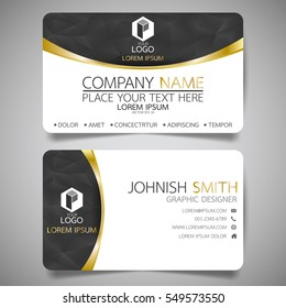 Black and gold modern creative business card and name card,horizontal simple clean template vector design, layout in rectangle size.