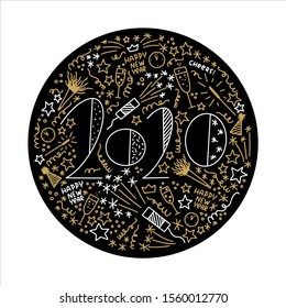 Black and gold New Year circle design for drink coasters and cards with hand drawn 2020 date, spiral throws, swirls, party noisemakers, champagne glasses, confetti cannons.