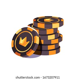 Black and gold poker chips stack. Casino illustration