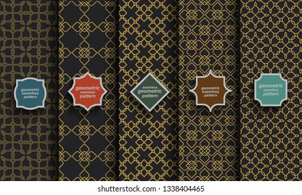 Black and gold seamless islamic patterns, vector set. Arabic geometric ornaments.Vector backgrounds for Oriental design and Ramadan wallpaper. -Vector