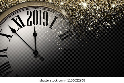 Black and gold shiny 2019 New Year transparent background with blurred round clock. Vector illustration.