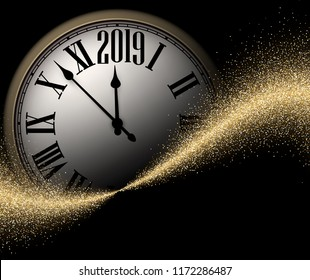 Black and gold shiny 2019 New Year background with round clock. Beautiful Christmas greeting card or decoration. Vector illustration.