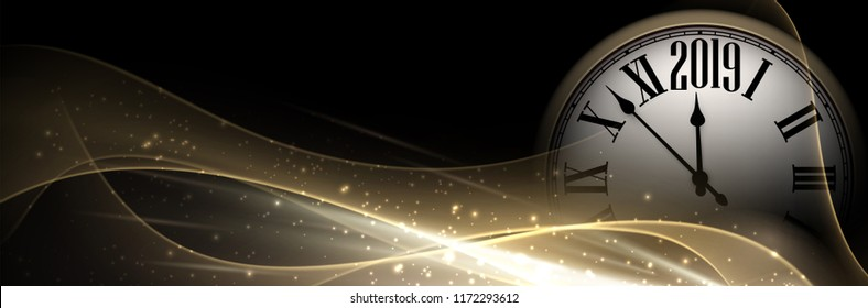 Black and gold shiny 2019 New Year banner with round clock. Beautiful Christmas template. Vector illustration.
