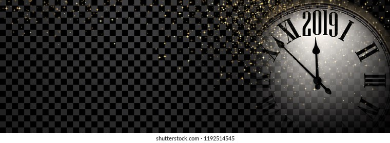Black and gold shiny 2019 New Year transparent banner with blurred round clock. Vector illustration.