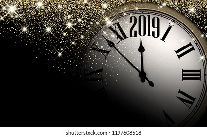 Black and gold shiny 2019 New Year background with clock. Beautiful Christmas greeting card. Vector illustration.