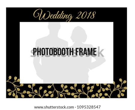 Black Gold Style Photobooth Frame Wedding Stock Vector Royalty Free