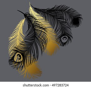 Black and gold stylized feathers. Vector illustration. Ideal for T-shirt prints