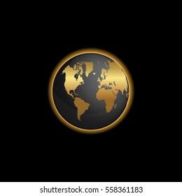 Black and gold world map illustration