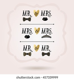 Black and golden abstract conceptual Mr. & Mrs. , Mrs. & Mrs. , and Mr. & Mr. with hearts icons on pink gradient background
