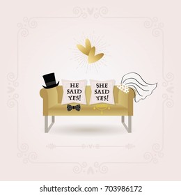 Black and golden abstract He Said Yes and She Said Yes pillow messages wedding card on pink gradient background