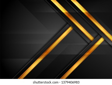 Black and golden abstract hi-tech geometric background. Vector design