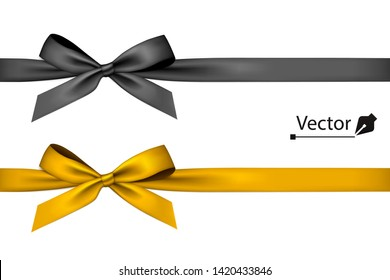 Black and golden bow with ribbon.