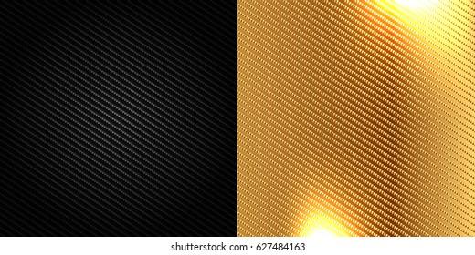 black and Golden carbon fiber kevlar texture background vector