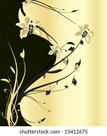 Black and Golden Flowers with Arabesque Textures