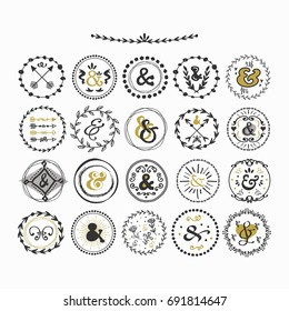 Black and golden hand drawn cute circle ampersands emblems set on white background