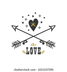 Black and golden hand drawn love, heart and crossed arrows icons on white background