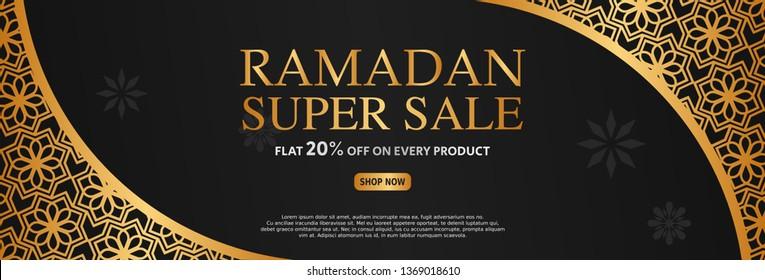 Black and golden islamic sale banner. arabic elegant background. vector illustration