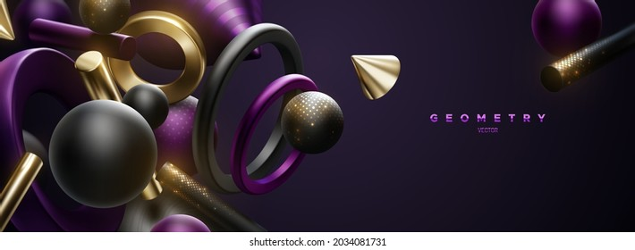 Black, golden and purple geometric shapes. Abstract elegant background. Vector 3d illustration. Flowing geometry primitives with golden shimmering glitters. Luxury banner or sign design