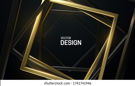 Black and golden square frames. Abstract background. Vector 3d illustration. Random rotated rectangles. Geometric banner. Luxury element for poster or cover design.