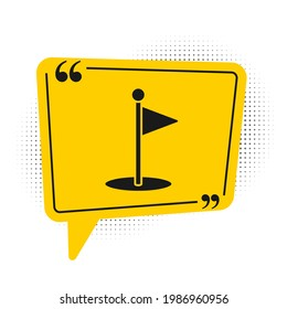 Black Golf flag icon isolated on white background. Golf equipment or accessory. Yellow speech bubble symbol. Vector Illustration