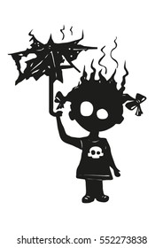 Black gothic silhouette of a little girl, which was struck by lightning, shock, with charred umbrella and cartoonish skull on the dress. Danger, Warning, broken heart, loneliness, shock, fate.