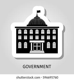 Black government building silhouette vector web sticker icon