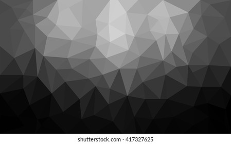 Black gradient abstract geometric triangular polygon style illustration graphic background. Black and White abstract polygon background