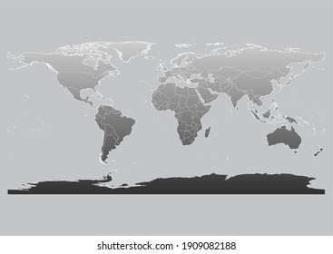 Black gradient global map for reports, campaigns, news backgrounds. World map in shades of black, isolated on grey background. Vector map suitable for digital editing