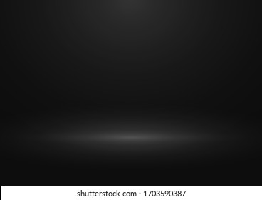 Black gradient studio background. Design of backdrop for presentation you product. Vector. Eps 10.