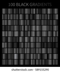 Black gradients 100 big set. Mega collection of black gradient illustrations for backgrounds, cover, frame, ribbon, banner, coin, label, flyer, card etc. Vector template EPS10