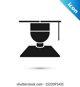 Black Graduate and graduation cap icon isolated on white background.  Vector Illustration