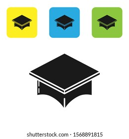 Black Graduation cap icon isolated on white background. Graduation hat with tassel icon. Set icons colorful square buttons. Vector Illustration