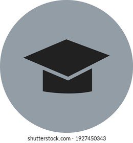 Black graduation cap, illustration, vector on white background.