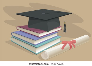 Black graduation cap, mortarboard and diploma scroll, made with gradient mesh book 3d realistic vector design. Graduate university academy school