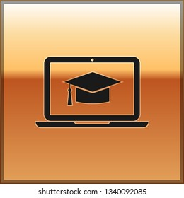 Black Graduation cap on screen laptop icon isolated on gold background. Online learning or e-learning concept. Vector Illustration