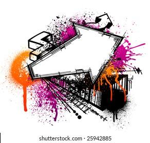 Black graffiti arrow sketch with orange and pink grunge paint splatter
