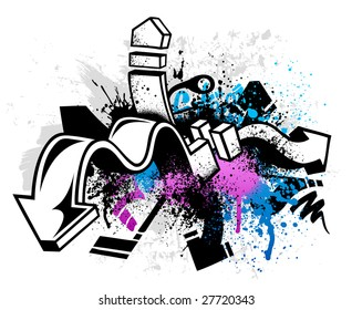 Black graffiti sketch with blue and pink grunge paint splatter