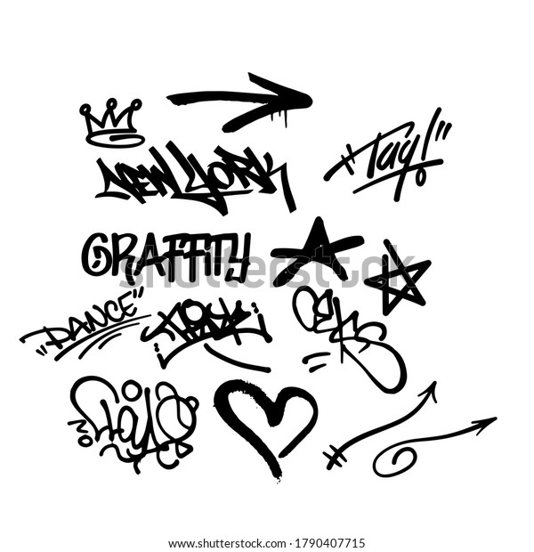 black graffity elements in vector isolated on white background. Tags, spray, graffity,