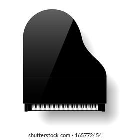 Black grand piano top view. Vector.