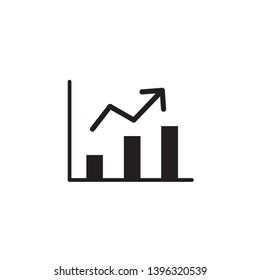 Black graphic chart icon with white background
