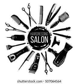 Black graphic hairdresser decorative set with beauty haircut accessories and equipment with round haircut salon logo in center.