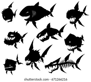 Black graphic silhouette cool monster fish on white background vector set
