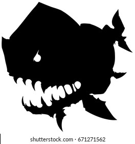 Black graphic silhouette monster fish with big head on white background